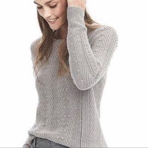 Banana Republic Pom Pom Cable Alpaca Blend Sweater